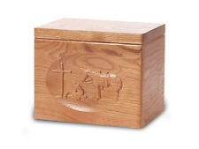 Wood Cremation Urn. Standard model with a Natural Finish and Praying Cowboy