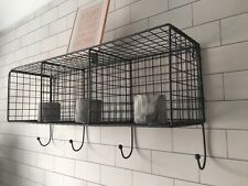 Metal Wire Locker Room Industrial Style Shelf 4 Hooks Unit Grey 3 Sections Large