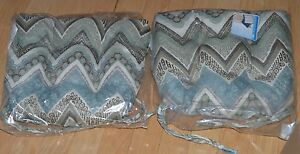 "Kitchen Chair Pillows(two)-Modern Design-Green/Blue/Grey -Geometric - 15"" x 14"""