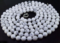Natural 8mm White Howlite Turquoise Round Beads Necklace Long 18-48''