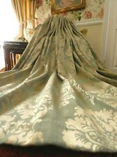 HUGE Duck Egg & Gold French Floral Damask Lined Curtains Long Pair 218cm x 206cm
