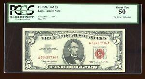 DBR 1963 $5 Legal Fr. 1536 PCGS AU-50 Serial A50455736A