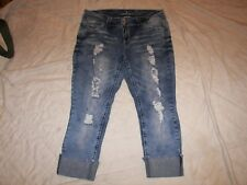 Almost Famous Distressed Destroyed Stretch Crop Jeans -