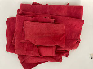 Chicos Red Suede Leather Remnant Scrap Upcycle Craft Cutter Fabric