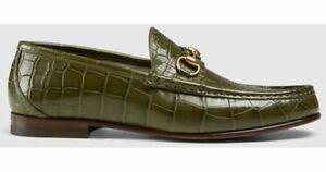 Handmade Men's Genuine Green Leather Crocodile print Slip on Loafer Shoes
