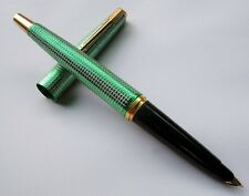 India Vintage Cut Grid Pattern Medico Fountain Pen F Golden Nib -Aerometric Gree