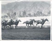 1940 Santa Anita HOF Jockey R Neves and Our Mat Win San Felipe Press Photo