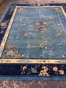 Antique Oriental Rug - Chinese 9x11 - Blue - Art Deco - handmade - wool