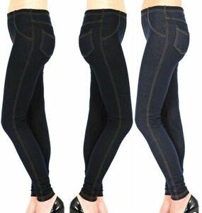 New Ladies Womens Stretchy Denim Look Skinny Jeggings Leggings Plus Size 8-26