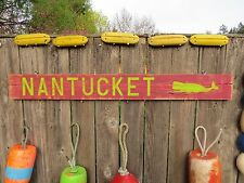 48 INCH WOOD HAND PAINTED NANTUCKET WHALE SIGN NAUTICAL SEAFOOD (#S630)