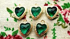 Heart jewel charms green gem gold jewellery supplies C1200