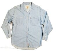 Vintage Levis Red Tab Womens Distressed Blue Jean Shirt Size Medium