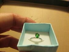 geniune chrome diopside ring 7x5 oval 925ss rhodium plated size 7