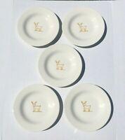 "Pottery Barn Keepsake Reindeer 8 1/4"" Dessert Salad Snack Plates Set of 5 RARE"