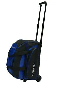 THE COMMANDO 2 BALL / DOUBLE ROLLER BOWLING BAG in BLUE & BLACK ~ BRAND NEW