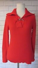 RALPH LAUREN SWEATER V-Neck Collared Career Sweater Holiday Silver Buckle Sz S