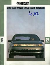 CATALOGUE PUBLICITAIRE MERCURY SABLE - CAPRI -  TOPAZ - TRACER - COUGAR - 1992