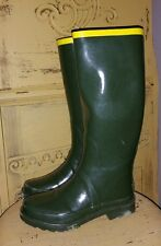 AUTH MARC JACOBS ARMY GREEN TALL RUBBER RAINBOOTS RIDING BARN BOOTS OLIVE 35 4