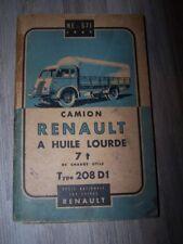 4C - Notice/Manuel/Carnet d'entretien/Conducteur Renault Camions 7T 208 D1 1947