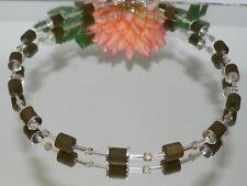 Halskette POLARIS WALZEN kakhi oliv  Metallplättchen versilbert 009g