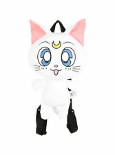 "Sailor Moon Artemis Cat Plush Zipper Pouch Backpack Purse Tote Bag 15""x10"" White"