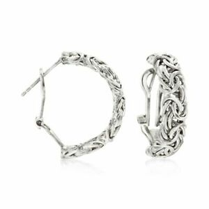 Byzantine Hoop Earrings with Omega Back Anti-Tarnish Real 925 Sterling Silver