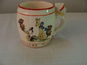 Vintage Child's I LIKE MILK CLOWN Handle MUG Cup Giraffe Bears