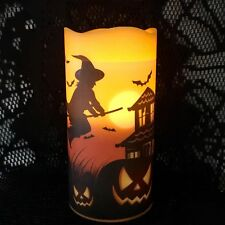 2 Halloween LED Candle Pillars Witch Bats Haunted House Light Decoration New