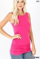Women's sleeveless top side ruched casual solid tank top blouse S-M-L-XL