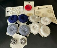 Lot of Vintage Buttons on Cards Tufted Buttons Silver Flowers Retro