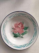 Vintage Enamel Bumper Harvest Shallow Bowl Prop Shabby Chic Pink and Blue Rose