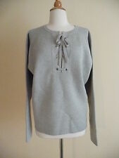 NEW J.CREW COLLECTION BONDED LACE-UP SWEATER, F5368, SZ XL, DUSK NAVY, $199