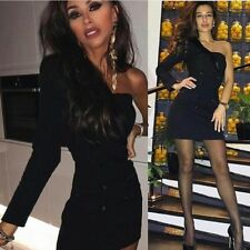 Zara Negro Asimétrico Cuello Chal Vestido Talla Xsmall BNWT