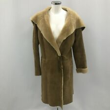 Nicole Farhi 100% Sheepskin Tie Waist Coat UK 12 Camel Brown Wrap Hooded 280195