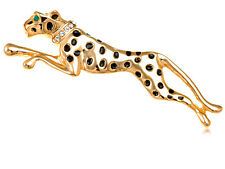 Golden Tone Running Cheetah Black Crystal Rhinestone Panther Custom Pin Brooch