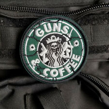 GUNS AND COFFEE STARBUCKS SKULL TACTICAL MILITARY MORALE HOOK PATCH GREEN BADGE