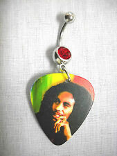 RASTA MUSIC BOB MARLEY DEEP THOUGHT GUITAR PICK 14g RED CZ BELLY BUTTON RING