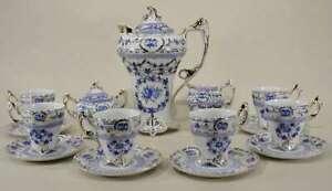 Demitasse Tea Set, 17 Pc. Blue & White w/Gold, Victorian Style