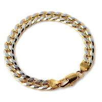 """Men's Bracelet Charms Chain 18K two-tone Gold Filled 8.6""""Link Fashion Jewelry"""