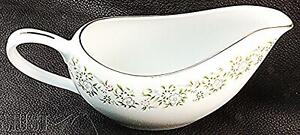 Sterling Fine China White Gravy Boat Silver Rim Floral Elegant Taihei