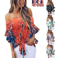 Womens Sexy Off Shoulder Blouse Floral Knot Ribbons Chiffon Flare Sleeve Tops