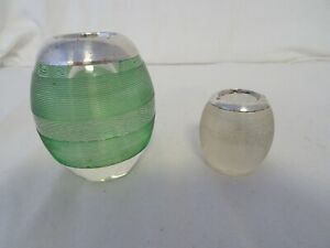 Antique Pair ribbed glass silver topped match holder striker Birmingham 1900 ch