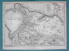 1874 MAP BAEDEKER City Plan - ITALY Ancona