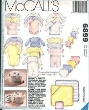 6899 McCalls Infant Baby Layette Pattern Rompers Hats Diaper Cover Towels UNCUT