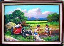Kids Playing 24x36  Art Philippines Oil Painting