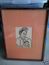 Vintage 1964 Ink Painting India Man w Child SIGNED LOOK