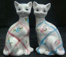 VINTAGE LEFTON JAPAN STRIPED & FLOWERED CAT SALT & PEPPER SHAKERS MINT!