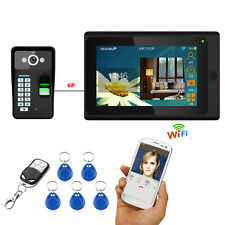 "7""Wired/Wireless Wifi Fingerprint RFID Video Door Phone Doorbell Intercom System"