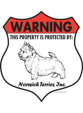 """Warning! Norwich Terrier - Property Protected Aluminum Dog Sign - 7"""" x 8"""" (Badge"""