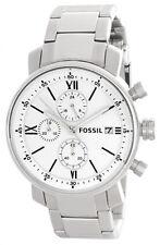 Fossil White Dial Stainless Steel Bracelet Mens Watch BQ1003